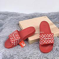 Шлепанцы, тапки женские, мужские - Supreme Louis Vuitton Red, фото 2