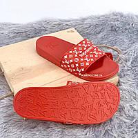 Шлепанцы, тапки женские, мужские - Supreme Louis Vuitton Red, фото 4