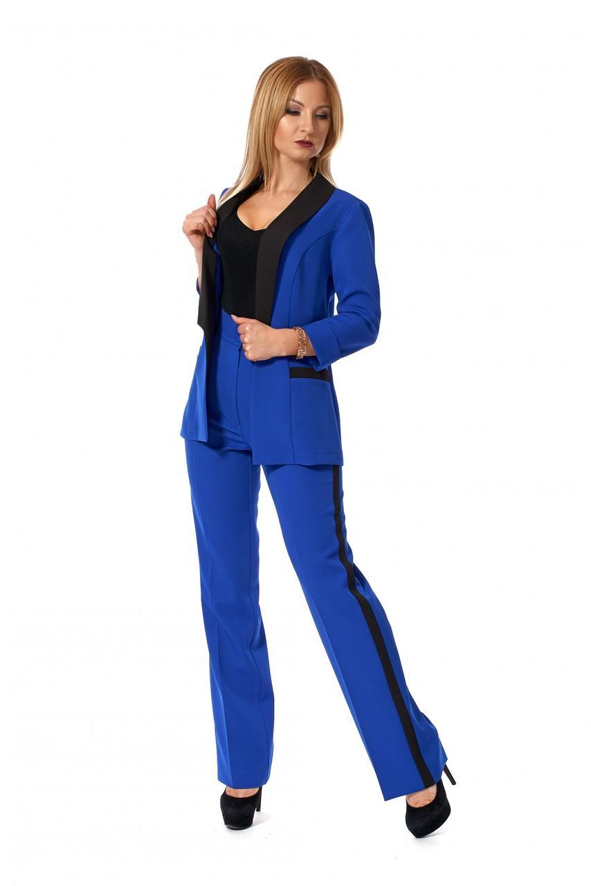 1bfff97ab Однотонный женский костюм с брюками электрик размер 42,44,46,48 ...