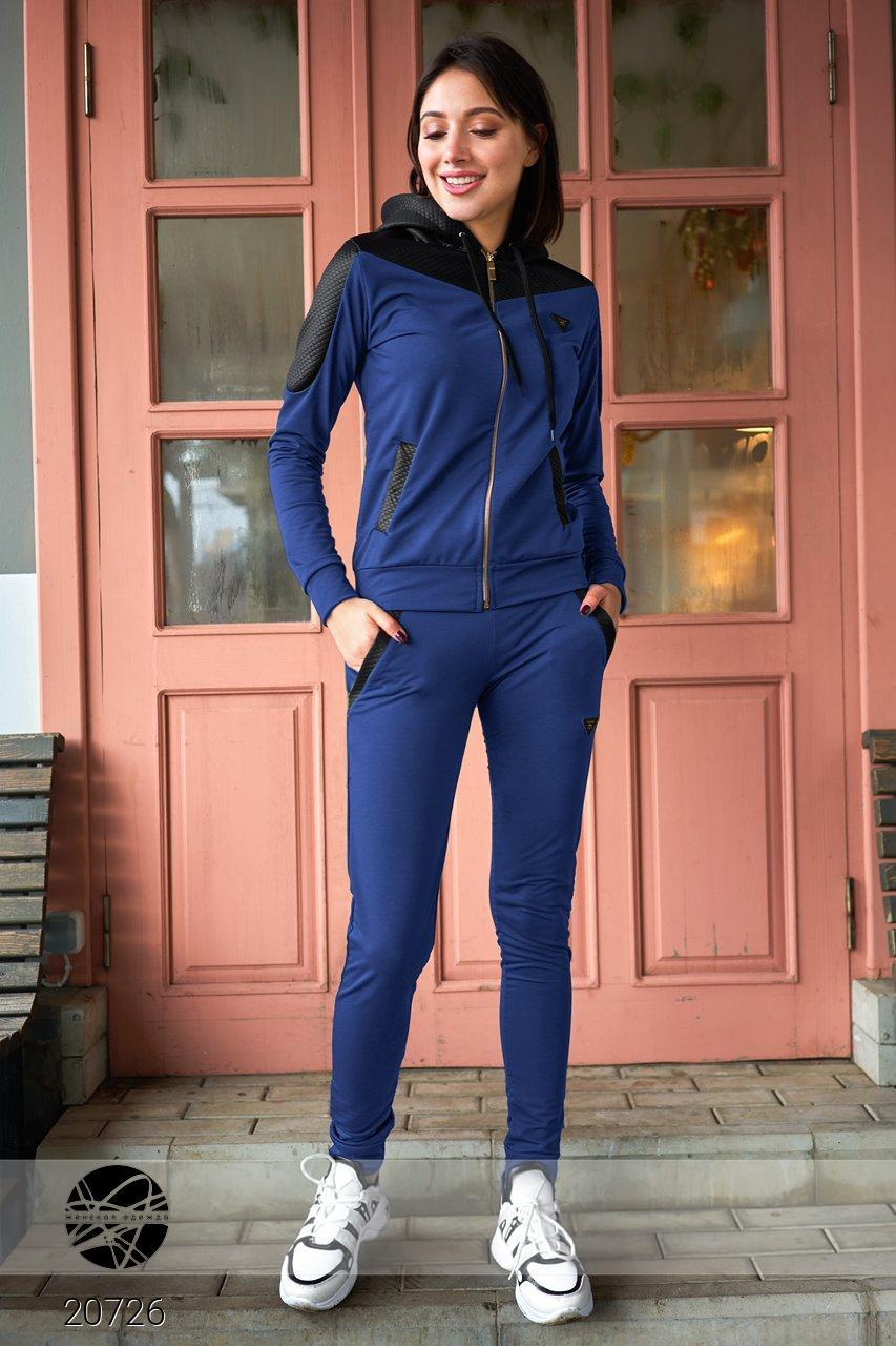 Спортивный костюм со стёганными вставками 42/синий