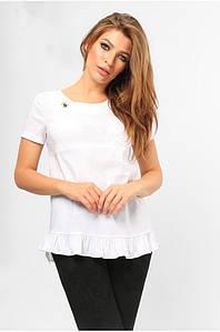 Блуза с асимметричным воланом Белая
