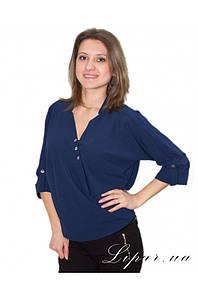 Блуза свободного кроя Синяя