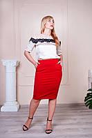 Женская юбка-карандаш с поясом на резинке Сандра красная, фото 1