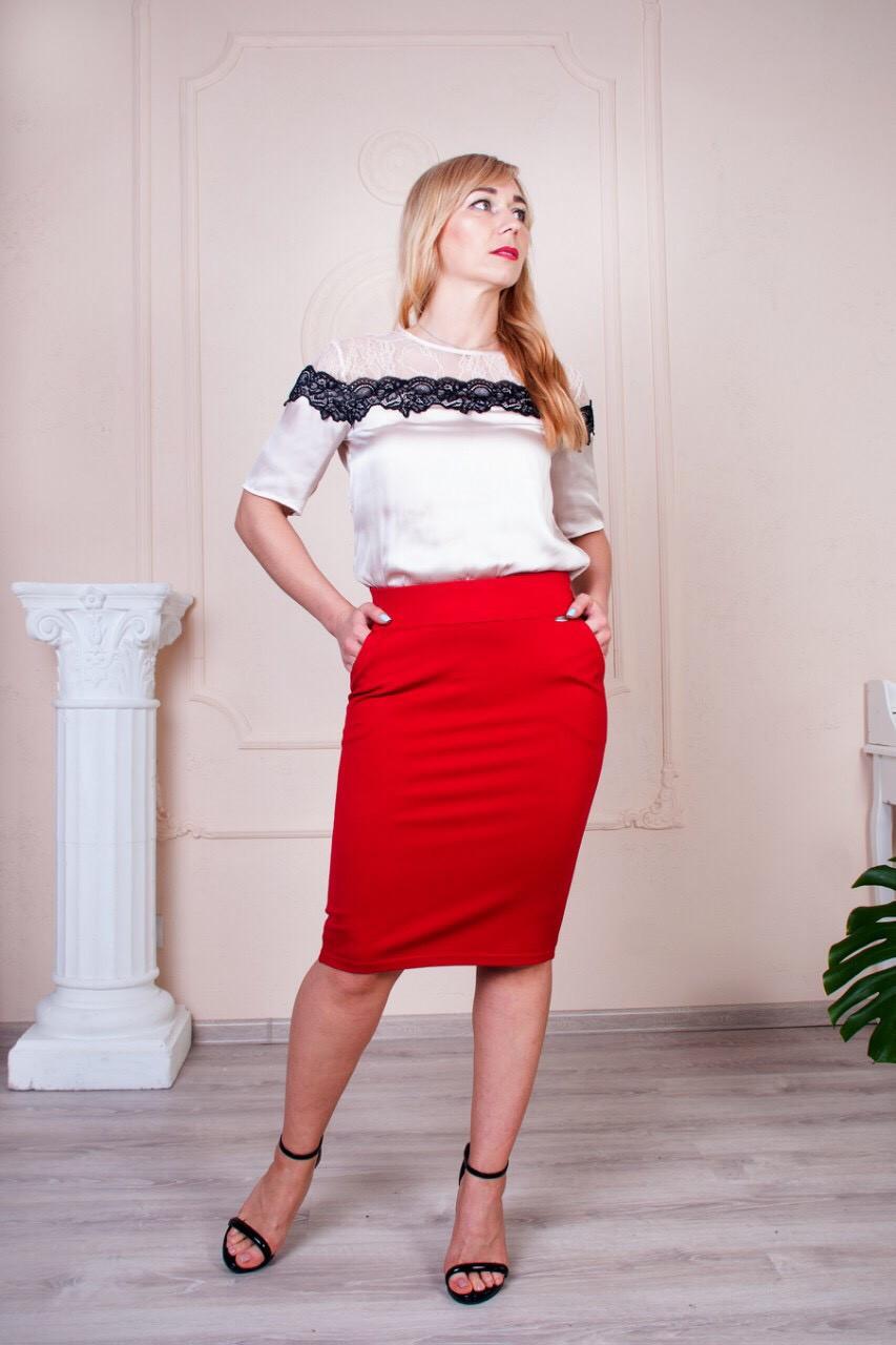 Женская юбка-карандаш с поясом на резинке Сандра красная