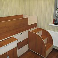 Детская кровать чердак орех-молочный дуб 21 170*80