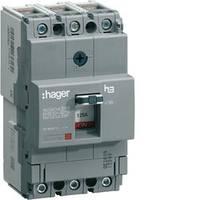 Автоматический выключатель x160, In=16А, 3п, 18kA, Тфикс./Мфикс. Hager (HDA016L)
