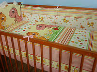 Набор детской постели в кроватку ТМ«ASIK» ( 8 ед. ) динозаврики розовые №55