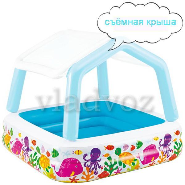 детский надувной бассейн с крышей