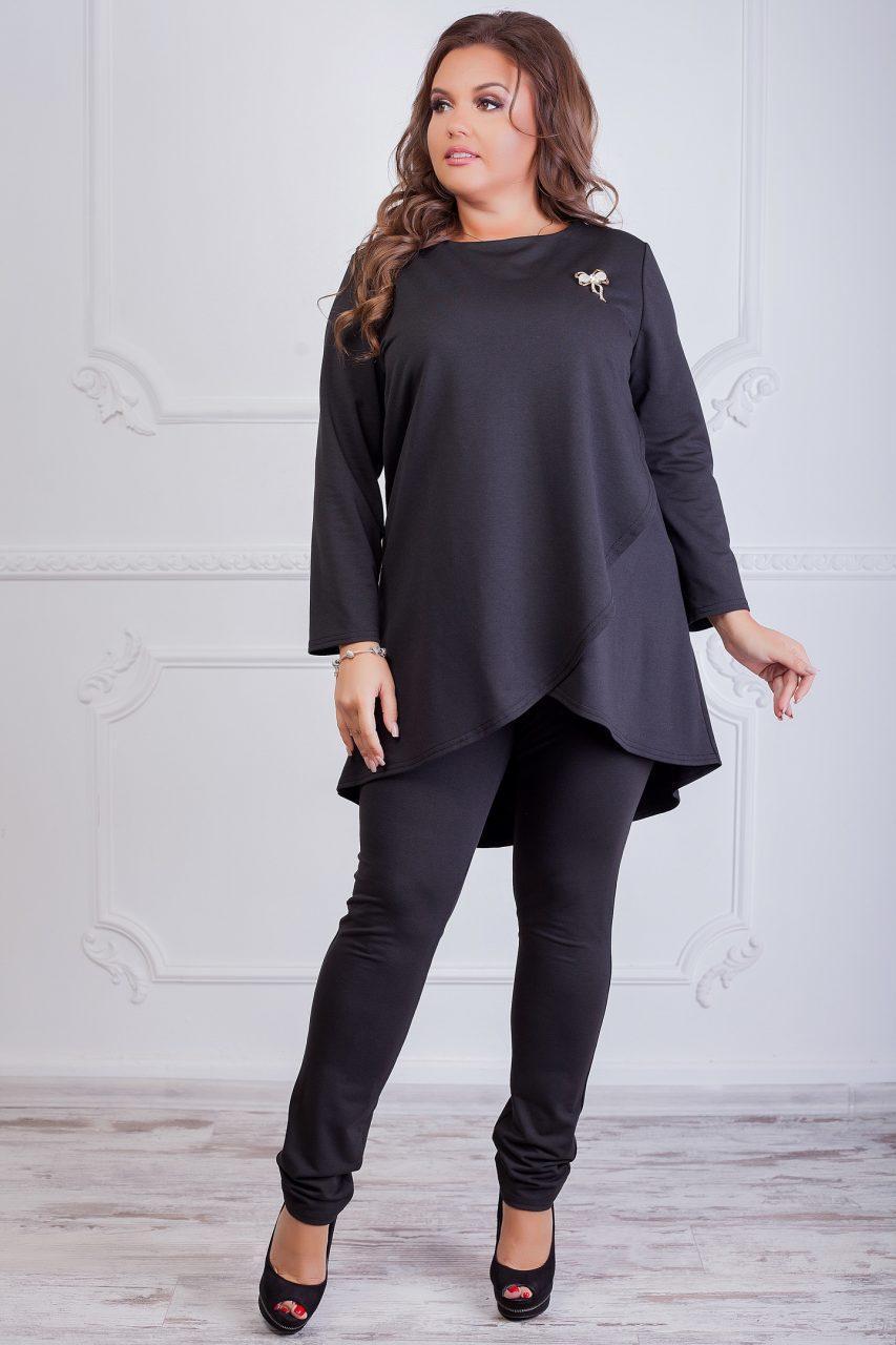 Жіночий костюм двухнитка чорний 8137
