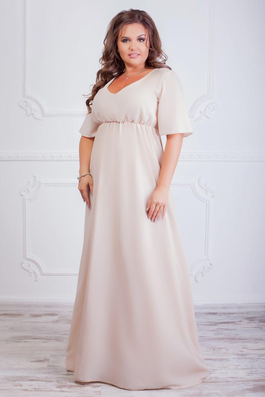 Женское платье ФЕЯ бежевое 8024