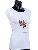 Женская бесшовная футболка из микрофибры с рисунком