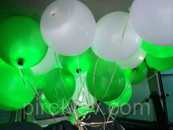 """Светящийся шар с гелием, встроенный светодиод, три режима горения, цвет зелёный, размер 12"""" (33 см)"""