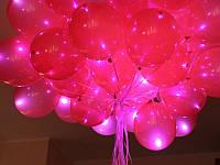 """Светящийся шар с гелием встроенный светодиод с кнопкой, три режима работы, цвет красный, размер 12"""" (33 см), фото 1"""