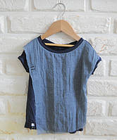Синяя легкая футболка с марлевкой под джинс. Унисекс. Размер: 86, 92 см, фото 1
