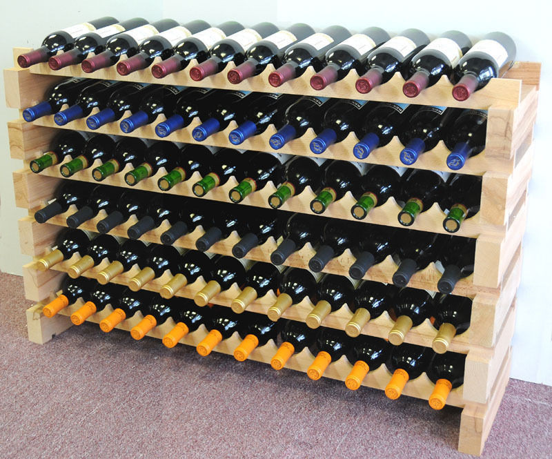 Винный стеллаж деревянный на 72 бутылки ручной работы