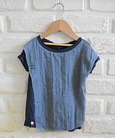 Синяя легкая футболка с марлевкой под джинс. Унисекс. Размер 104 см, фото 1