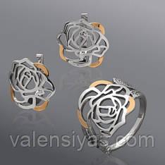 Комплект украшений из серебра с золотыми вставками - роза