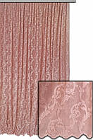 Тюль вышивка на сетке, цвет розовый