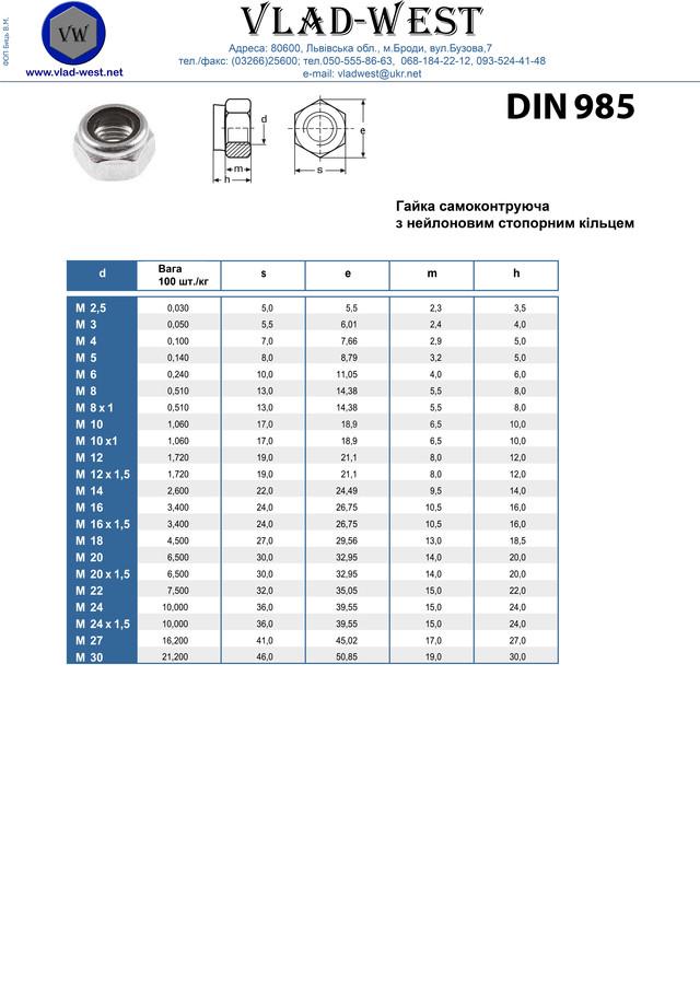 Вес гайки шестигранной самостопорной с полиамидной вставкой (пластиковым кольцом) DIN 985. Чертеж гайки. Характеристики гайки