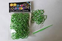 300 штук зелено-белых (зебра) резиночек для плетения Loom Bands