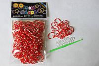 300 штук красно-белых (зебра) резиночек для плетения Loom Bands