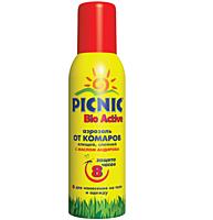 """Аэрозоль-спрей """"Picnic Bio Active"""" защита от комаров и клещей 125 мл код 707"""