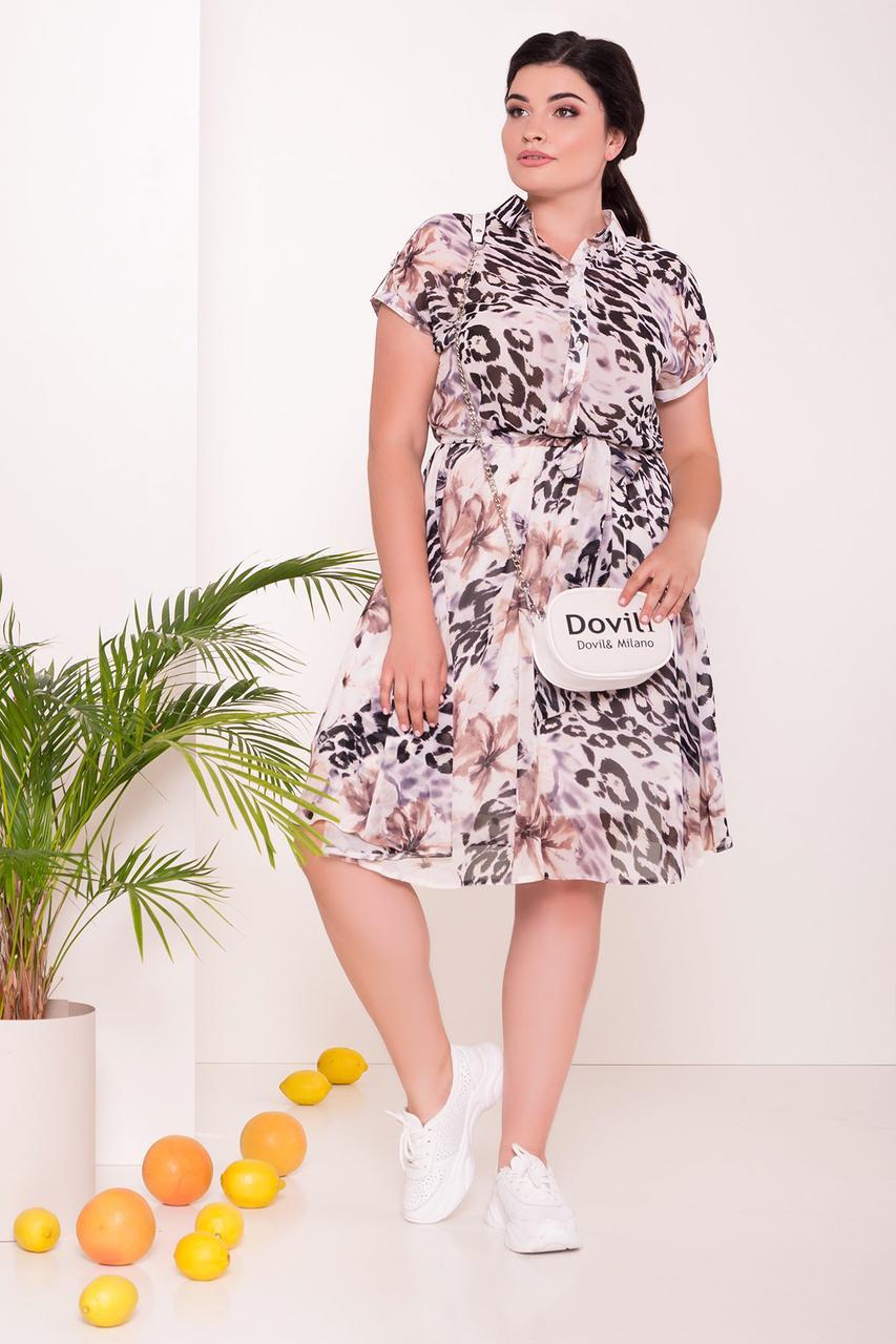 Шифоновое батальное платье Санжия с хищным принтом