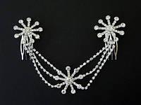 Свадебное украшение для волос  белый металл, белые стразы 22_17_7