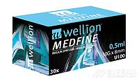 Инсулиновый шприц Wellion MEDFINE 0.5 мл 30G x 8мм U100, №30, фото 1