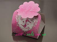 Коробка Сундучок, розовая птички