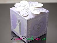Коробка Куб 60*60мм, сирень свадьба