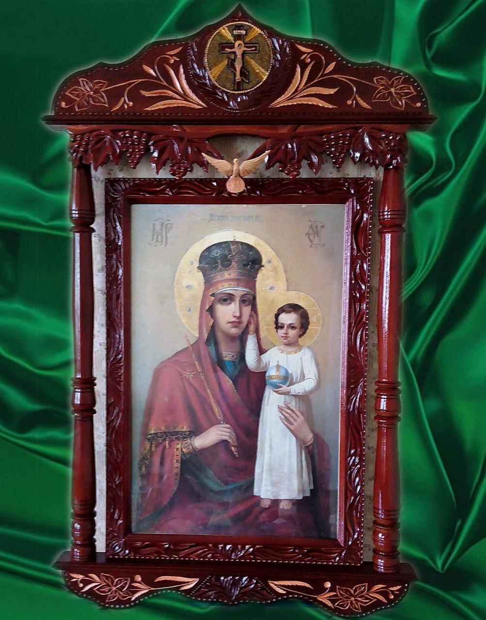 """Икона Божией Матери в киоте """" Призри на смирение """" большая"""