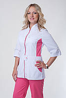 Медицинский костюм с вставками 3223 розовый