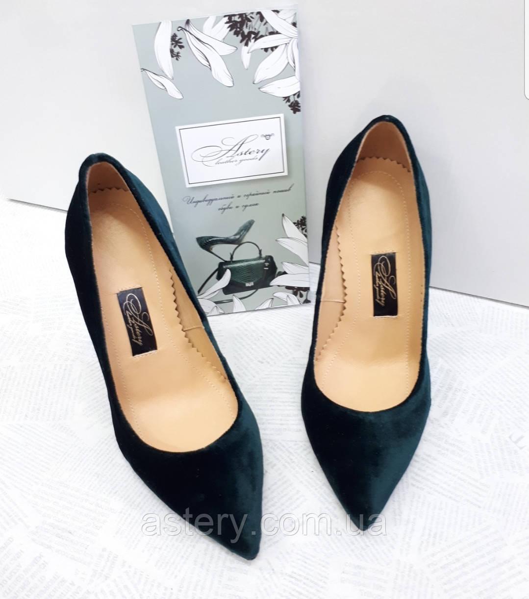 Женские зеленые бархатные туфли лодочки на шпильке