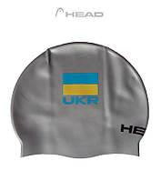 Силиконовая шапочка для плавания Head Flat Ukrainan Federation (Silver), фото 1