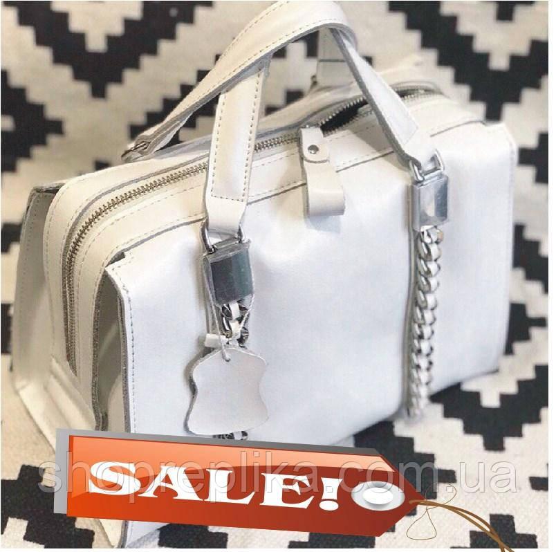 Женская кожаная сумка в белом цвете Трендовая модель  код KT22228 белые сумки в коже