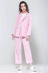 Женский льняной брючный розовый костюм