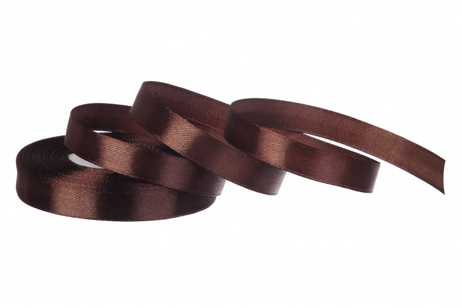 Лента атласная 12 мм 23 метра коричневый