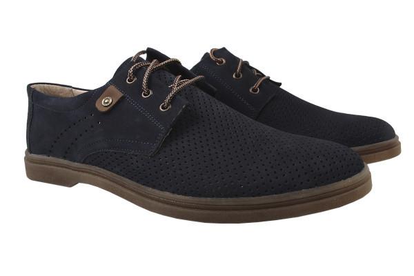 Туфли мужские комфортные Mida натуральный нубук, цвет синий