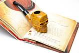 Эксклюзивная резная трубка ручной работы Череп из натурального дерева груши, фото 4