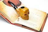 Резная курительная трубка Череп из дерева груши ручной работы под фильтр 9 мм, фото 4