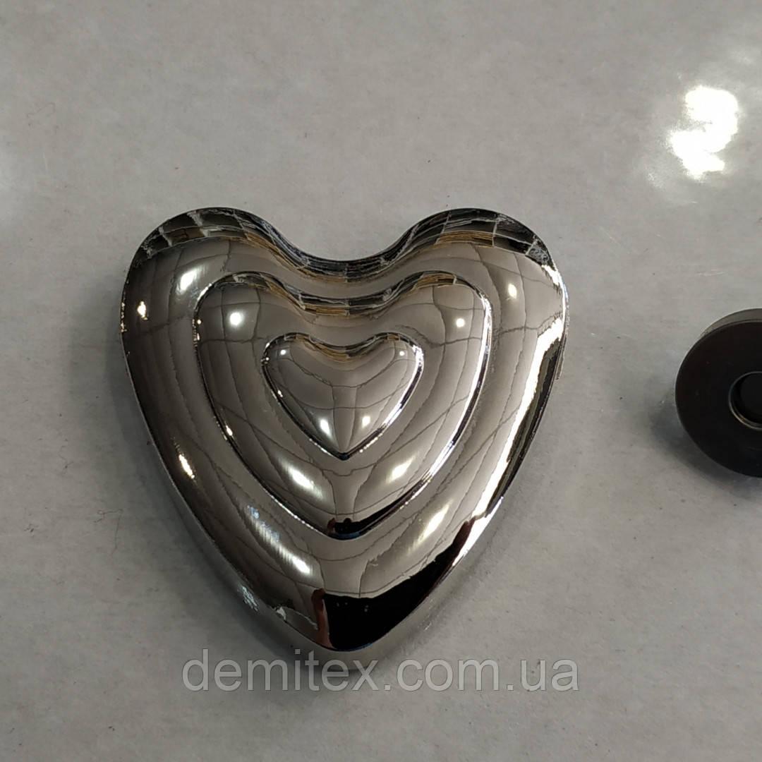 Магнитный замок сердечко сумочный  крабик никель 50*50мм