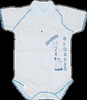 Детский боди-футболка с принтом, кнопки посередине и внизу, хлопок (мультирипп), ТМ Ромашка, р.62, 68, Украина