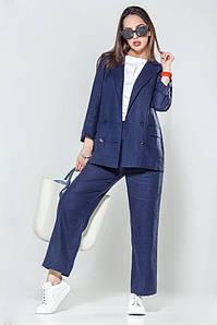 Женский льняной брючный синий костюм