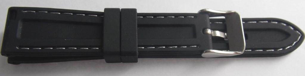 Ремешок каучук (Польша) 18 мм. черный белая строчка