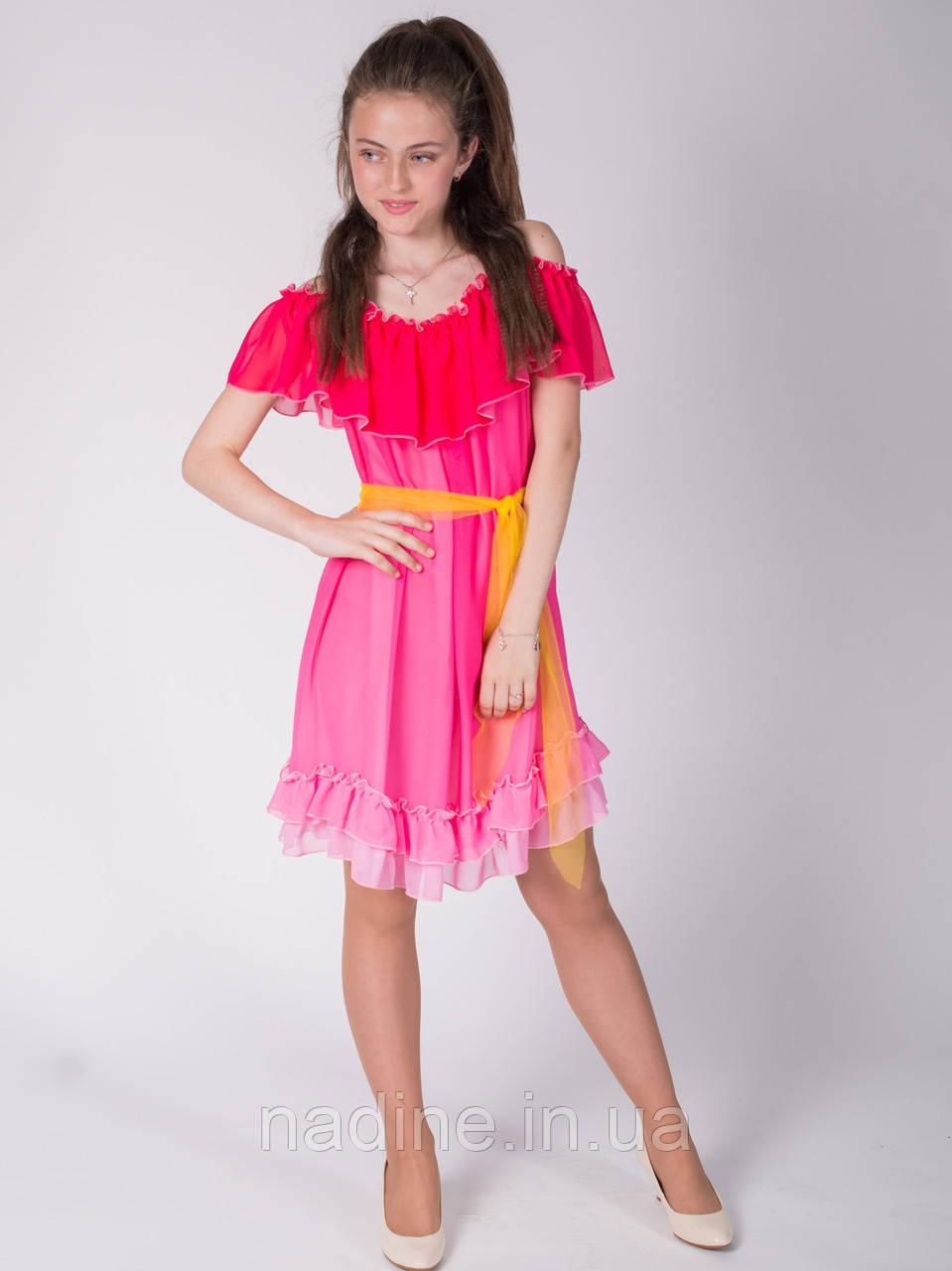 Шифоновое платье Nadine, Bright Alstrmeria 158, ярко розовое