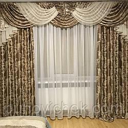 Модные шторы с ламбрекеном для зала заказать