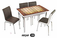 Стол раздвижной обеденный 999 AHSAP,набор, кухонный стол и 4 стула,Комплект  кухонной мебели,Комплект обеденн,