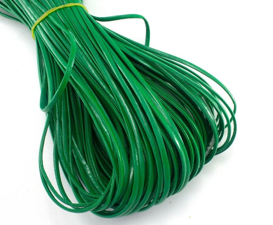 (10 метров) Плоский глянцевый шнур  2 мм ширина, цена за моток, (экокожа)  Цвет - Зелёный