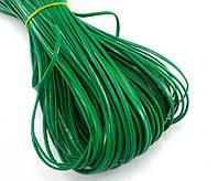 (10 метров) Плоский глянцевый шнур  2 мм ширина, цена за моток, (экокожа)  Цвет - Зелёный, фото 1